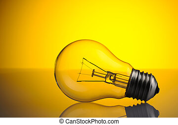 Light Bulb over yellow background