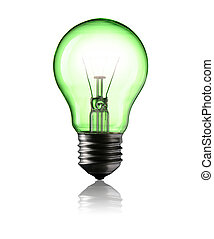 Green Power - Light Bulb isolated on white background