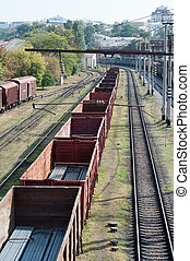 railroad cars - long tale of cars stand on railroad