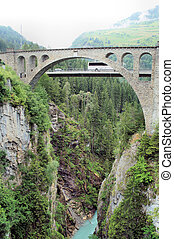 Bridge over a gorge - View from the old Solis-Bridge on the...