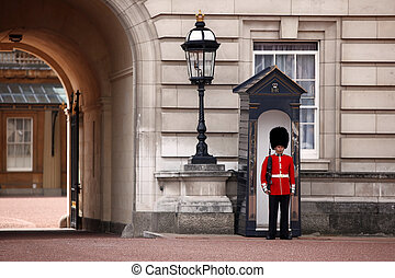 LONDON, ENGLAND- JUNE 9: Sentry of the Grenadier Guards...
