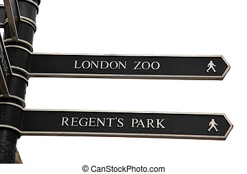 London Street Signpost with London Zoo and Regent Park