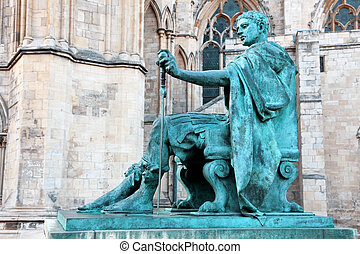 statue of Constantine I outside York Minster in England , UK