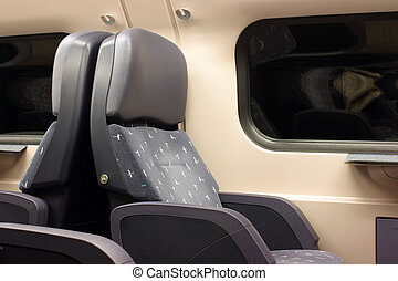 Seat interior from a first class train