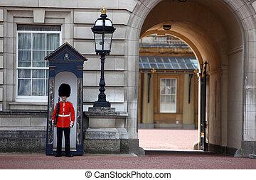 Londyn, ENGLAND-, Czerwiec, 9:, wartownik, grenadier,...