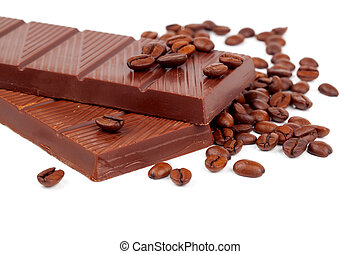 Chocolate with Coffee beans, on white background