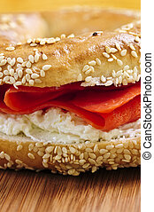 Bagel with smoked salmon and cream cheese - Fresh bagel with...