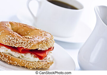 Smoked salmon bagel and coffee - Light meal of smoked salmon...