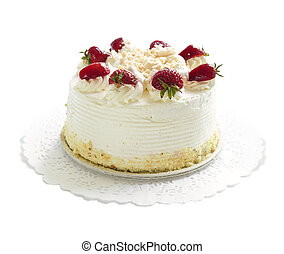 Isolated cake - Strawberry meringue cake isolated on white...