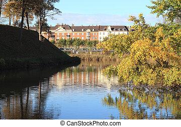 autumn in denmark - Kastellet. The park pond close to...