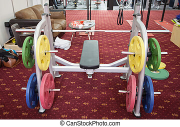 gim apparatus with wights discs in a fitness hall