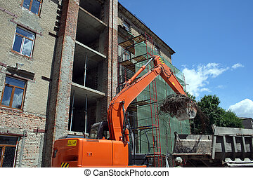 building work place - excavator on building work place