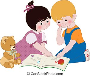 Children Reading - Boy and girl reading a book, vector...