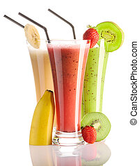 Smoothies isolated on white - strawberry, kiwi banana