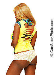 Young Jamaican girl - An young blond Jamaican girl in beige...