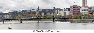 Historic Hawthorne Bridge Portland Oregon in Autumn Panorama