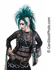 postpunk - green haired postpunk girl smoking a cigarette on...