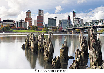 Portland Oregon Waterfront in Autumn - Portland Oregon...