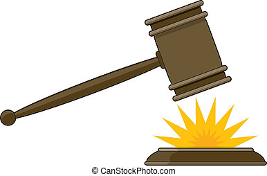Judges Gavel - Judges gavel striking its base with a yellow...