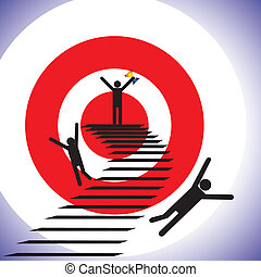 Concept illustration of a winner and losers. The graphic shows a person successfully reaching goal a winning while others falling down the path and getting defeated (unsuccessful)