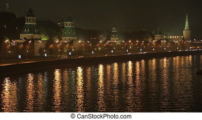 night Kremlin Embankment time lapse - night view on the...
