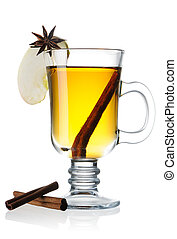 Cider - Hot cider isolated on white with reflection