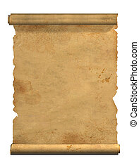 Scroll of old parchment Object over white