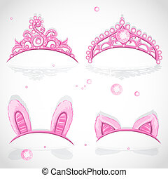 Shining pink girls tiaras 1 - Shining pink girls tiaras with...
