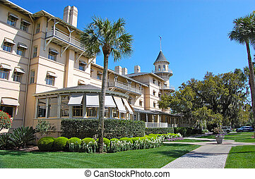 Jekyll Island Club, West Exterior - Mainland side view of...
