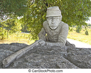 Stone Sentry at Gettysburg - A carved stone Union soldier...