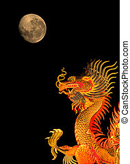 Chinese style dragon statue and the moon.