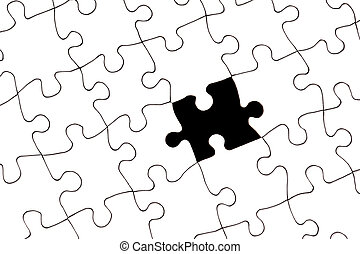 Puzzle with missing piece - A white blank puzzle with one...