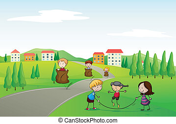 a kids - illustration of a kids in a beautiful nature