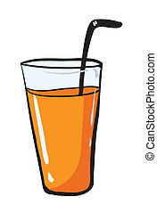glass and straw - illustration of glass adn straw on white...