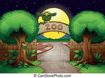 a zoo and owls - illustration of a zoo and owl in a...