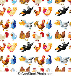 birds - illustration of various birds on a white background