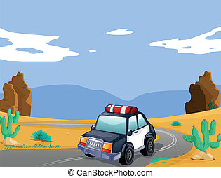 a car - illustration of a car in a desert