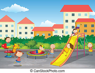 kids playing outdoor - illustration of kids playing outdoor...