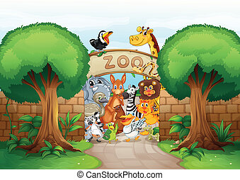 a zoo and animals - illustration of a zoo and animals in a...