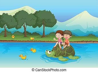kids on tortoise - illustration of kids sailing on a...