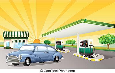 a house and gas station - illustration of a house and gas...