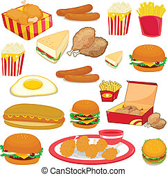 food - illustration of food on a white background