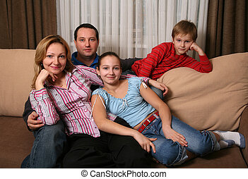 Family - Portrait of parents and children at home