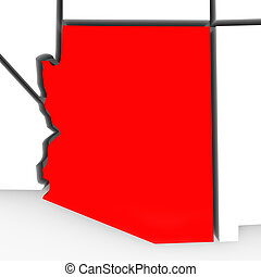 Arizona Red Abstract 3D State Map United States America - A...