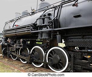 vieux, vapeur,  train,  locomotive, côté, gauche