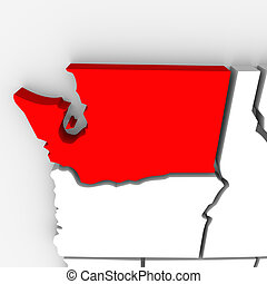 Washington Red Abstract 3D State Map United States America