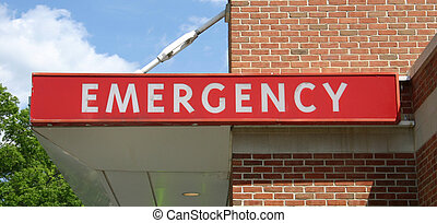 Emergency Sign - An Emergency sign above the entrance to an...