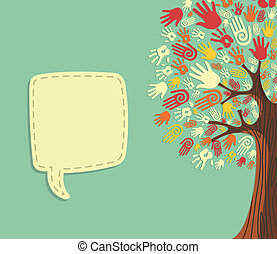 Diversity Tree hands template - Diversity tree hands...
