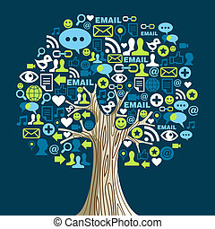 Social media networks tree - Social network tree with media...