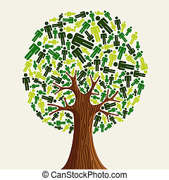 Eco friendly Tree people - Eco friendly tree with green...